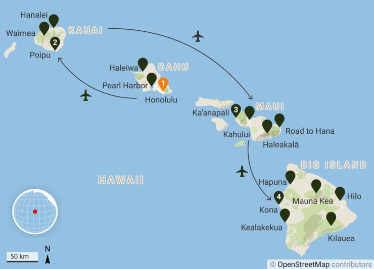 Hawaii - aktiivne puhkus neljal saarel - Kaart