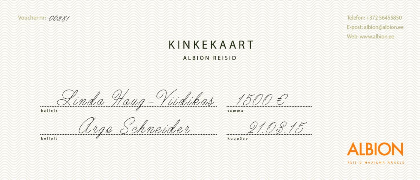 2d85d97a232 Albion Reisid | Kinkekaart